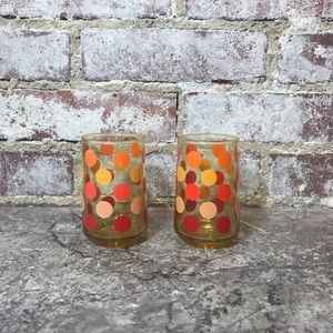 VINTAGE 2 Polka Small Glasses Dot Orange Red